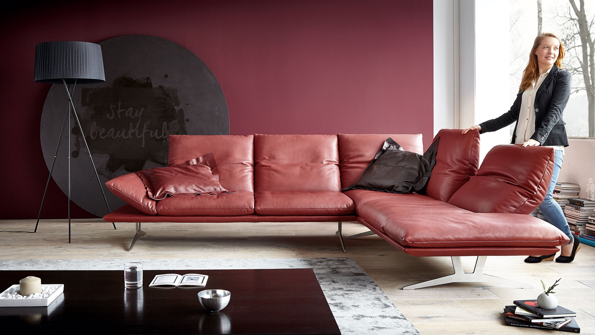 Koinor Sofa Francis In Rot Leder Mobel Bar Ag
