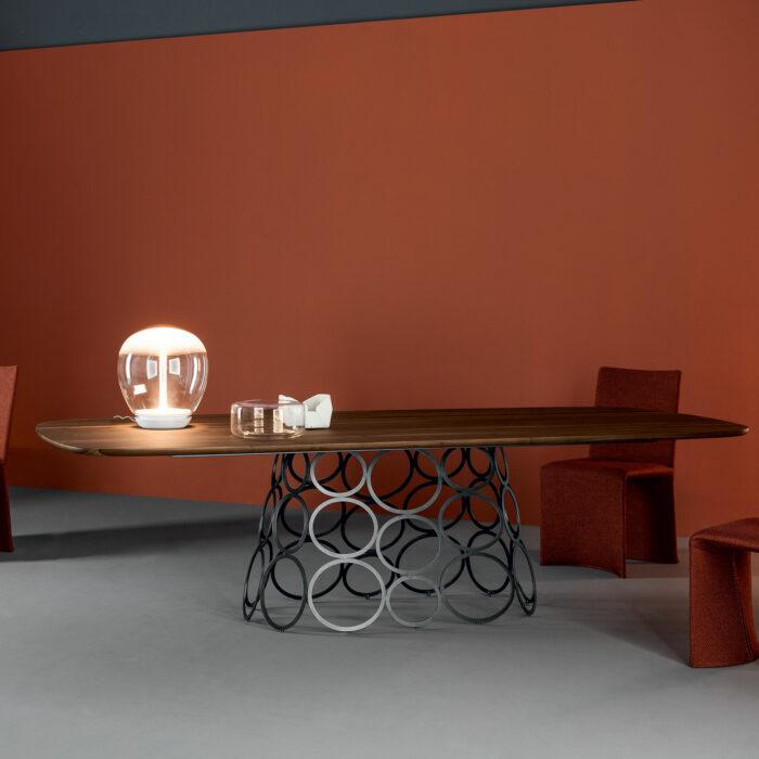 Hulahoop Rechteckig Nussbaum Tisch  von Bonaldo